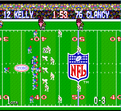 SNES TEcmo Super Bowl 1 with NES player sprites